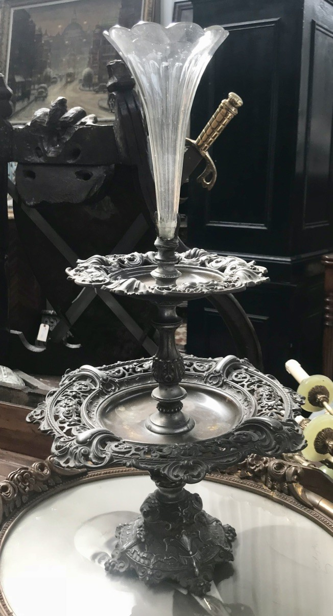 19th century French plated centre table piece with etched glass trumpet.