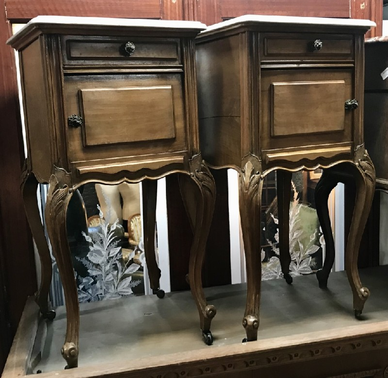Pair of French Louis XVth walnut & white marble top bedside cabinets.