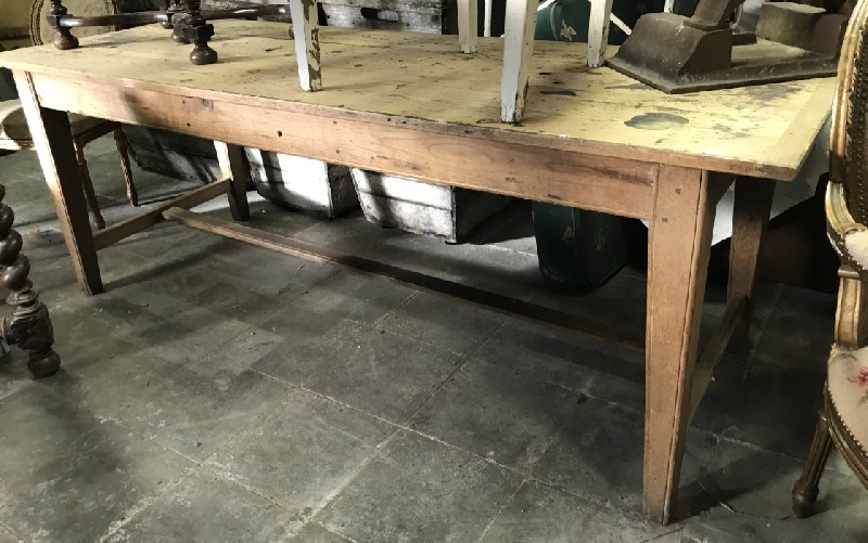 19th century French oak & pine farm house table with stretcher.