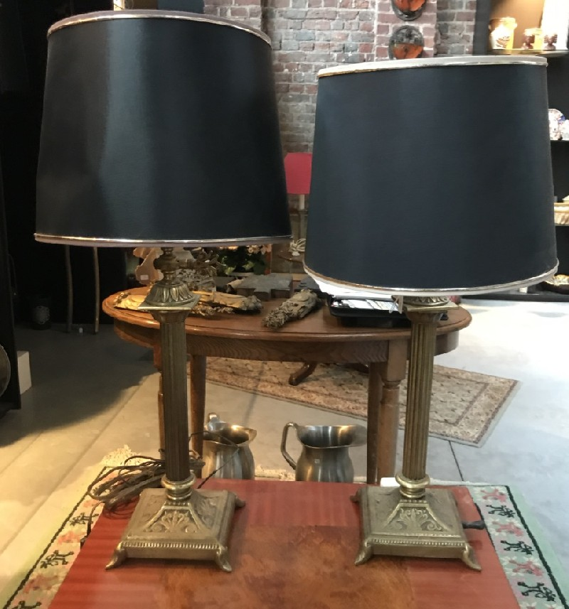 Pair of French antique brass gas table lamps and shades.