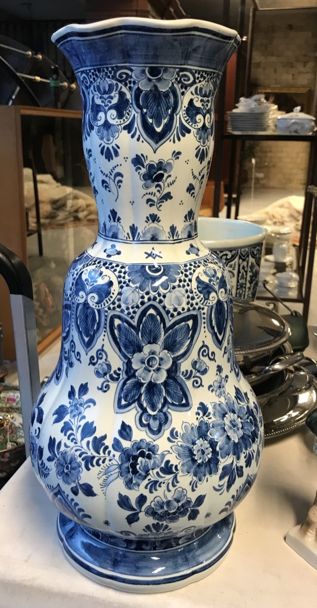 Tall Delft blue and white china vase