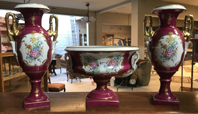 Pair of Paris porcelain magenta & floral decorated vases with matching centre piece.