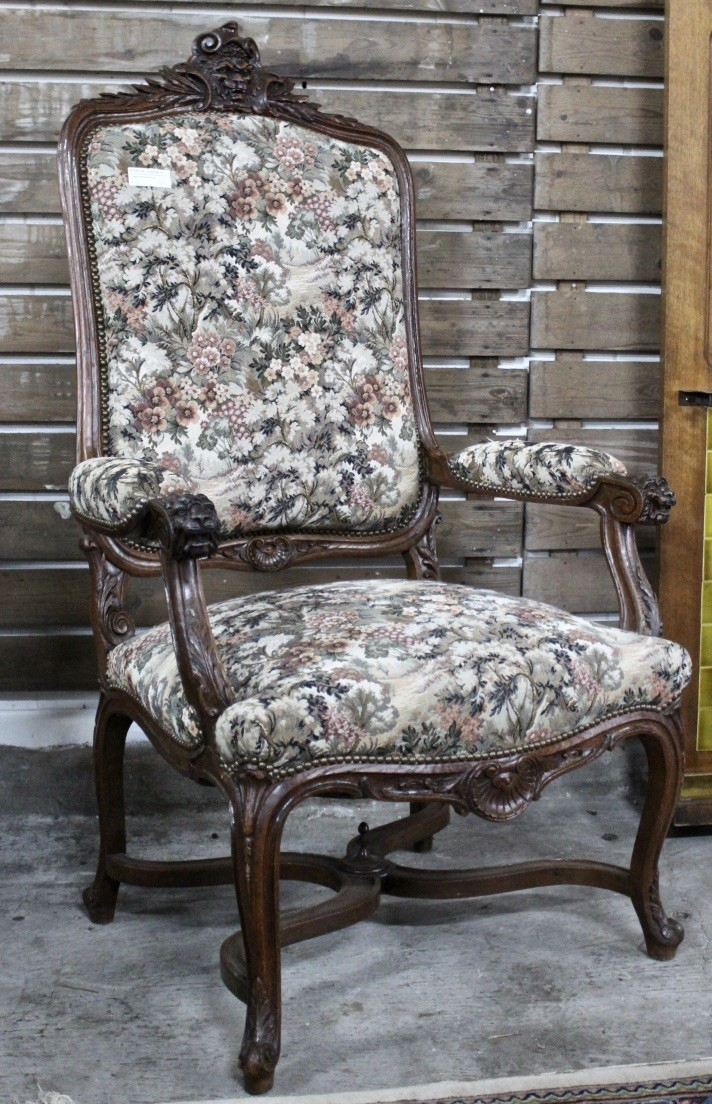 Large French 19th century walnut & floral upholstered grande fauteuil chair.
