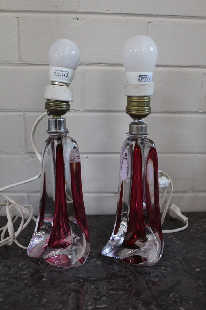 Pair of VSL ruby crystal table lamps