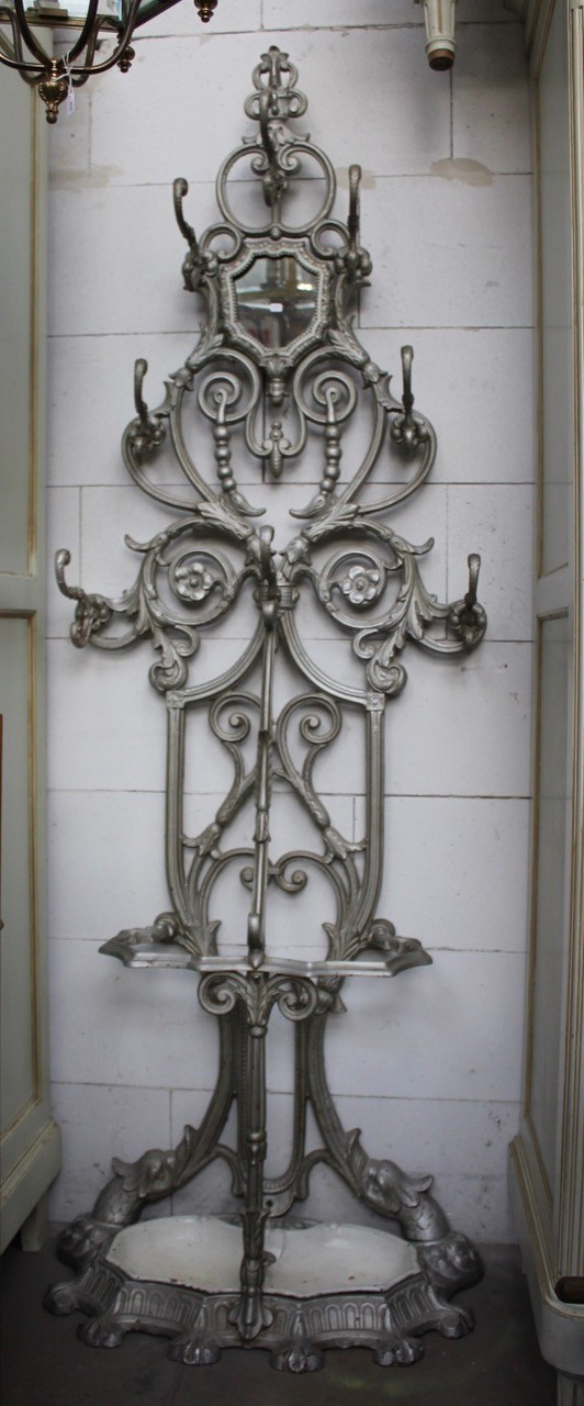 19th century French cast iron hall stand.