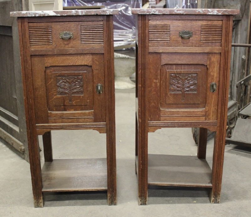 Pair of antique French oak & rouge marble top bedside cabinets.