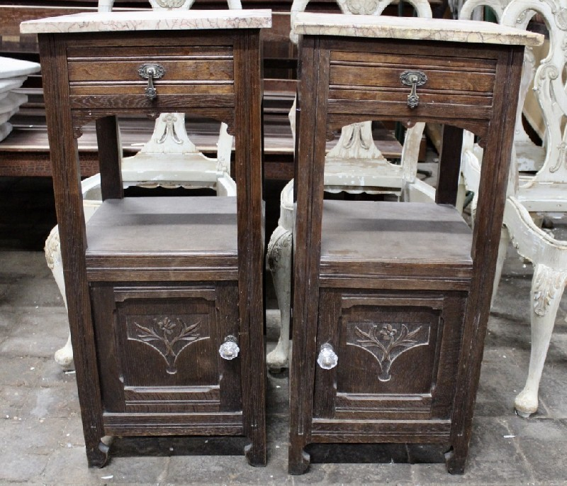 Pair of French oak & marble top bedside cabinets.