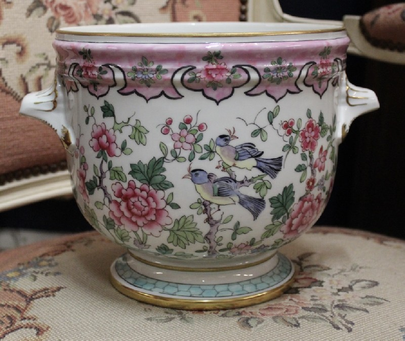 French floral decorated porcelain jardiniere.