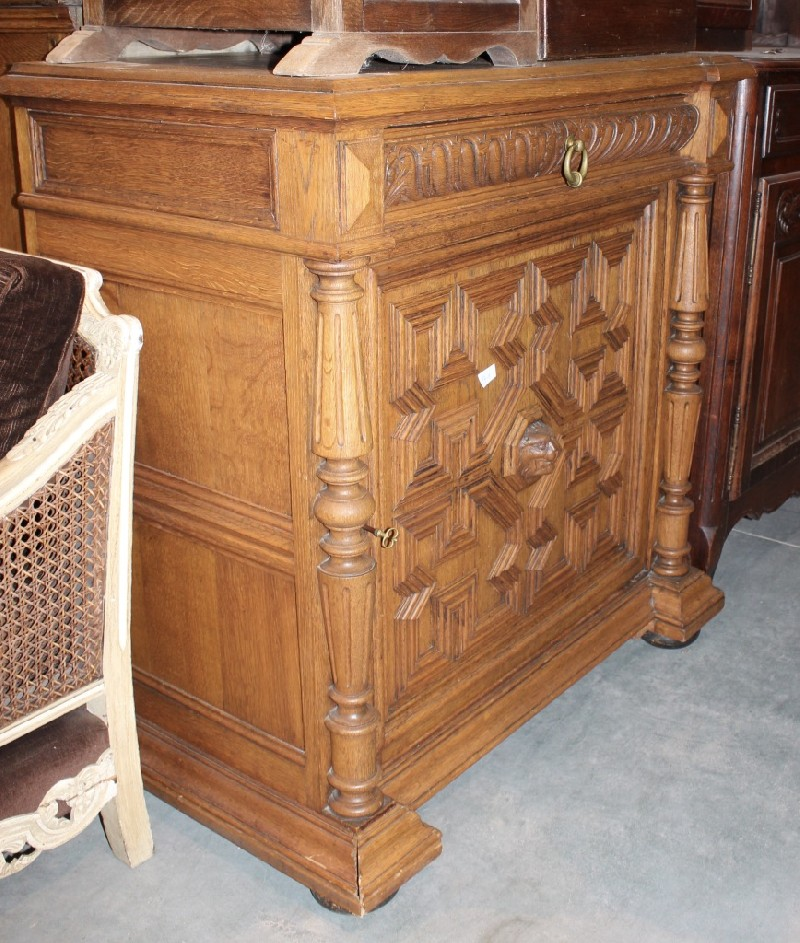French 19th century carved oak 1 door small  buffet.