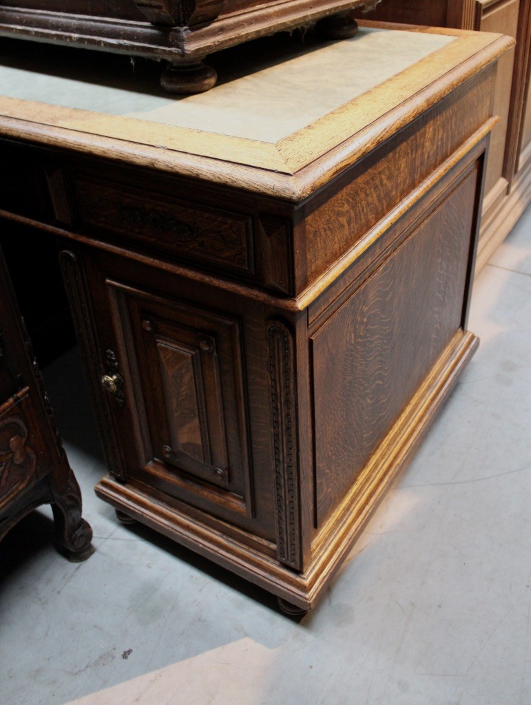 19th century French oak twin pedestal writing desk.