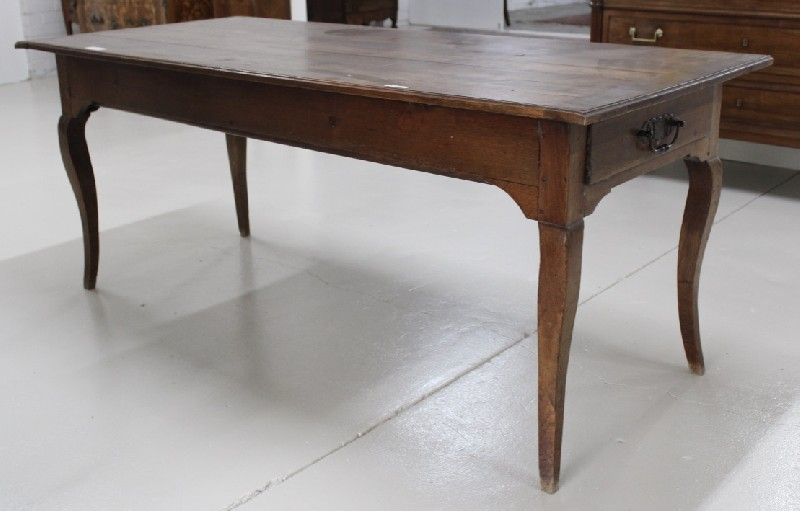 19th century French oak farm house table with drawers at both ends with iron handles.