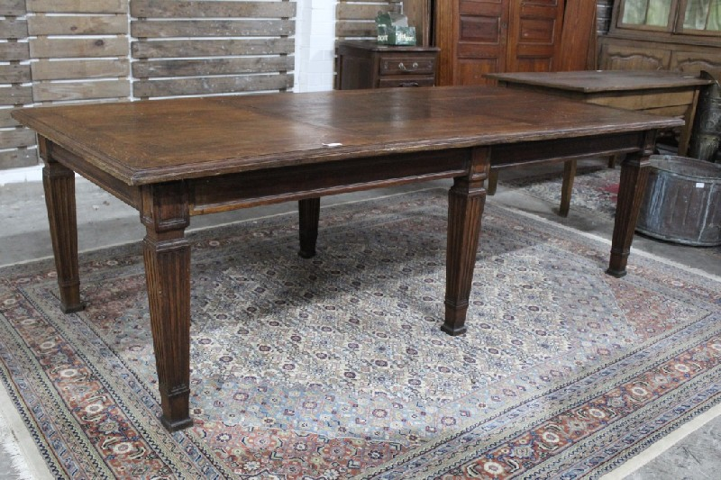 Large and unusually wide French 19th century oak 6 legged farm table. 2.5 mm x 1.2 m. Seats 10-12.