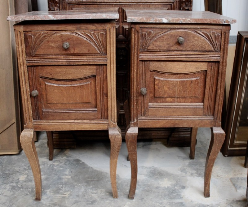 Pair of French oak & rouge marble top bedside cabinets.