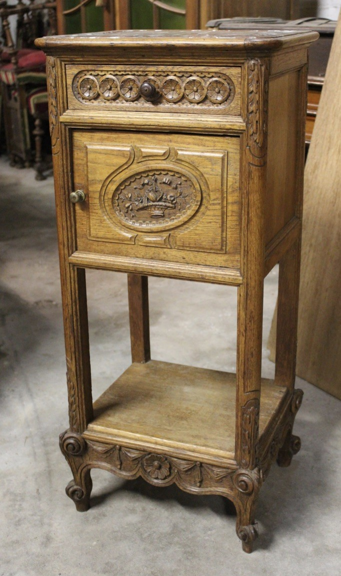 Fine French 19th century carved ak & rouge marble top bedside cabinet.