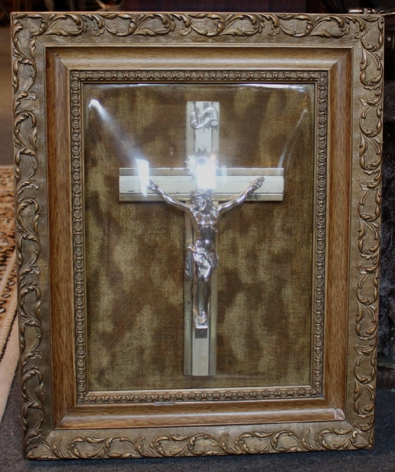 French carved framed & convex glass crucifix