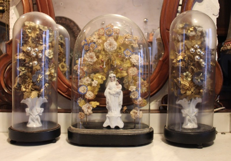 Set of 3 antique glass domes decorated with flower and wedding scene.