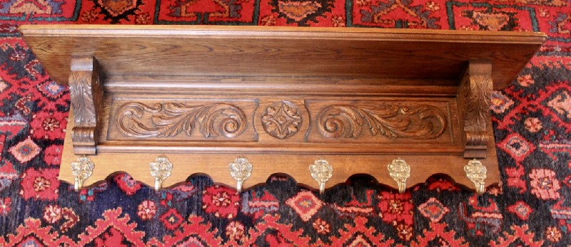French carved oak coat rack.