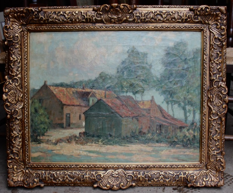 Pair of French gilt framed oil painting landscapes, farm house, signed and dated.