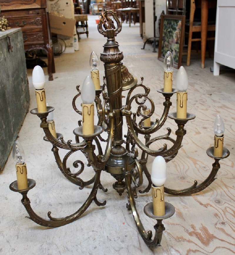 French brass 6 branch light.
