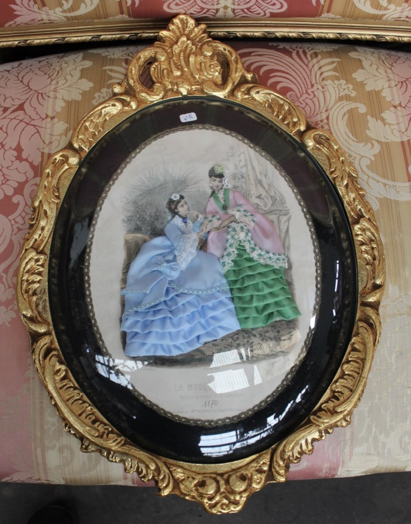 Gilt framed convex glass maiden picture.