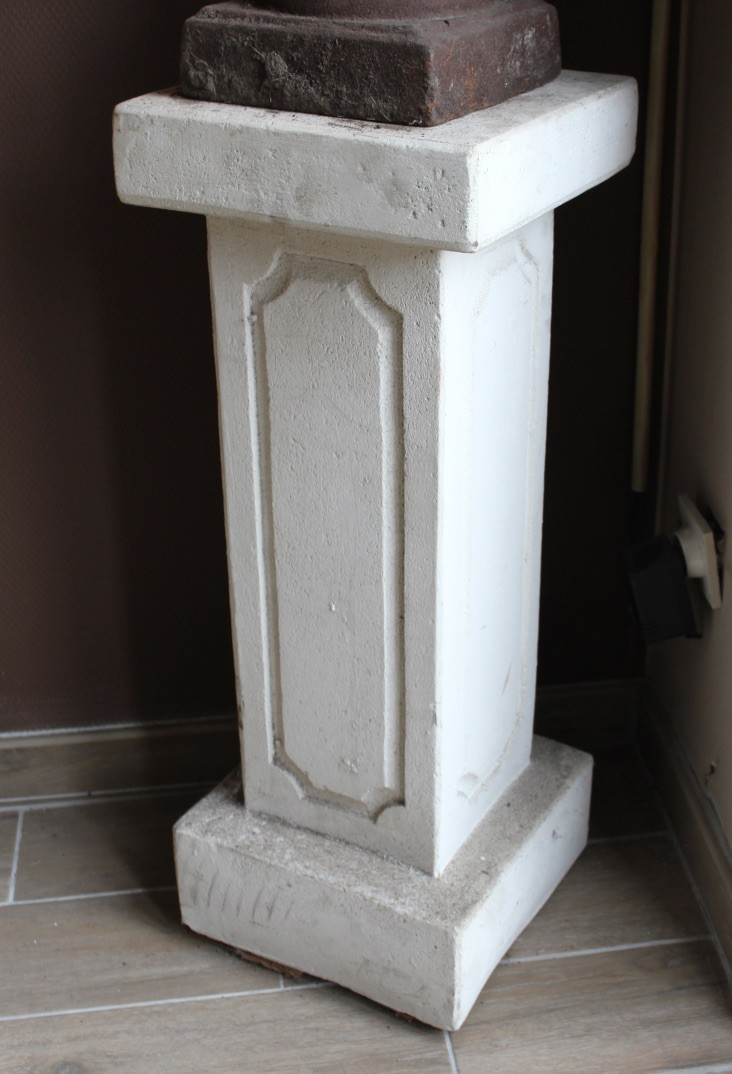 Pair of French concrete square garden pedestals that could be used inside also.