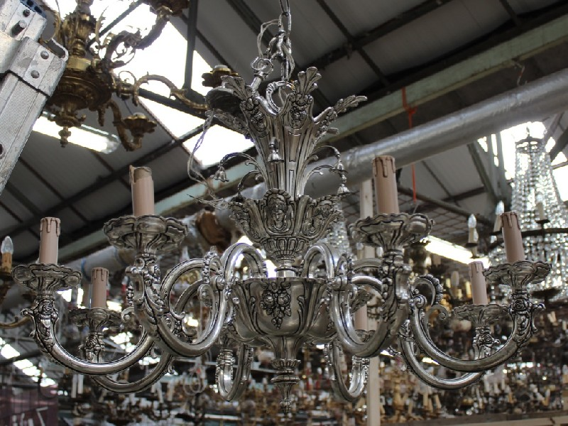 Large French brass & nickle plated 8 branch light fitting.