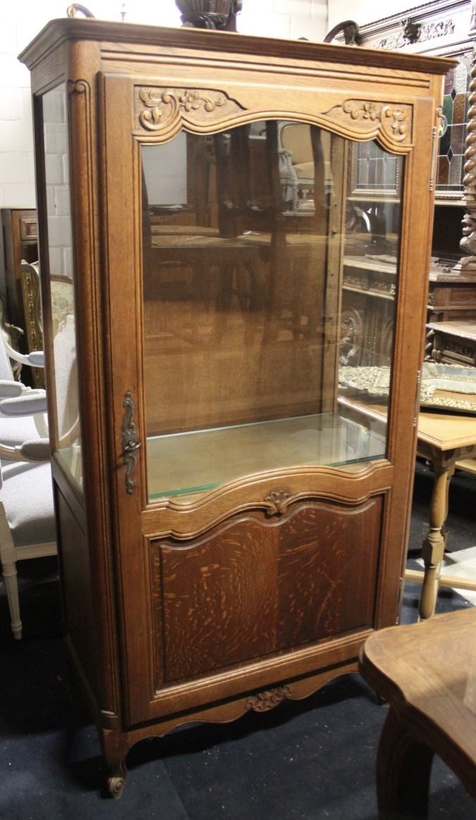 French provincial oak single door dispaly vitrine.
