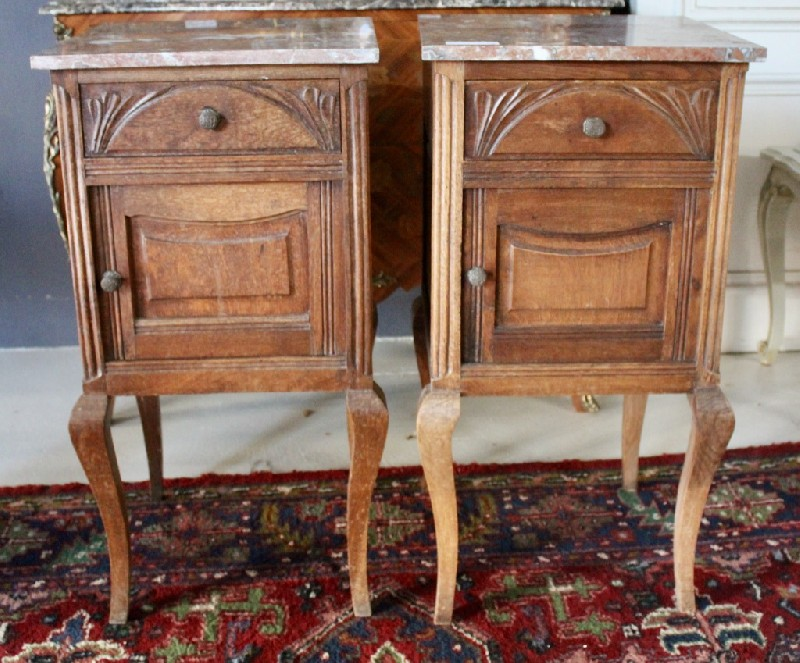 Pair of French Louis XVth oak & m/top bedside cabinets.