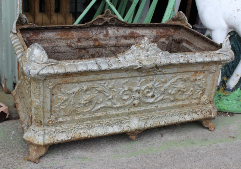 19th century French cast iron planter urn.