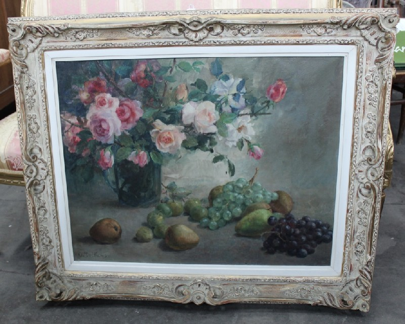 Ornate lacquered framed oil painting still life of flowers on a table signed.