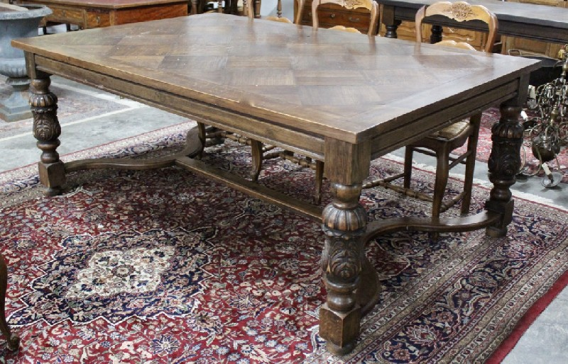 Large French provincial oak & parquetry top refectory table, which is over 1.3 m wide.