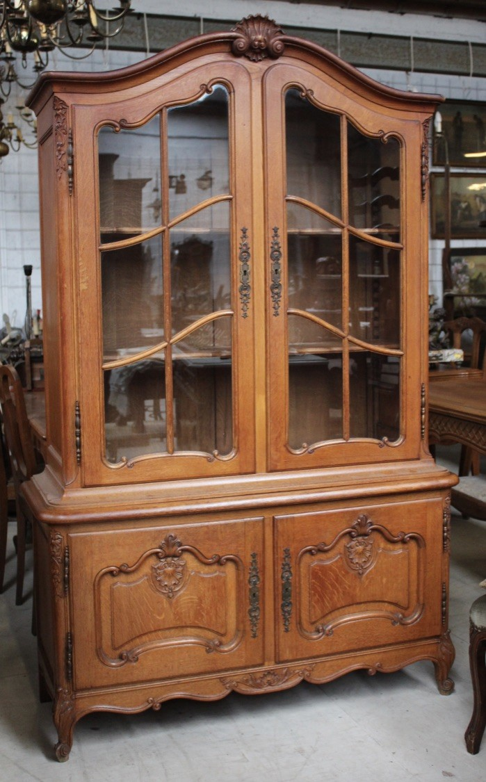 French provincial oak two door dispaly vitrine.