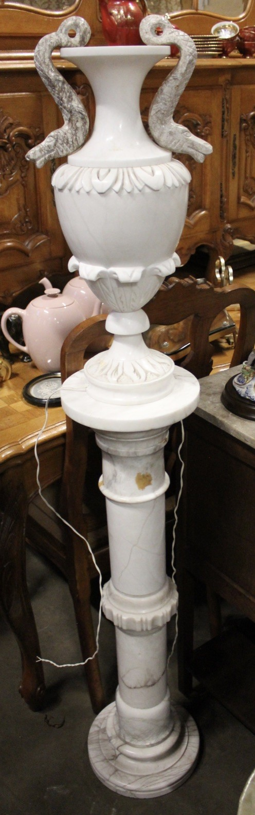Italian white marble and alabaster urn lamp on pedestal.