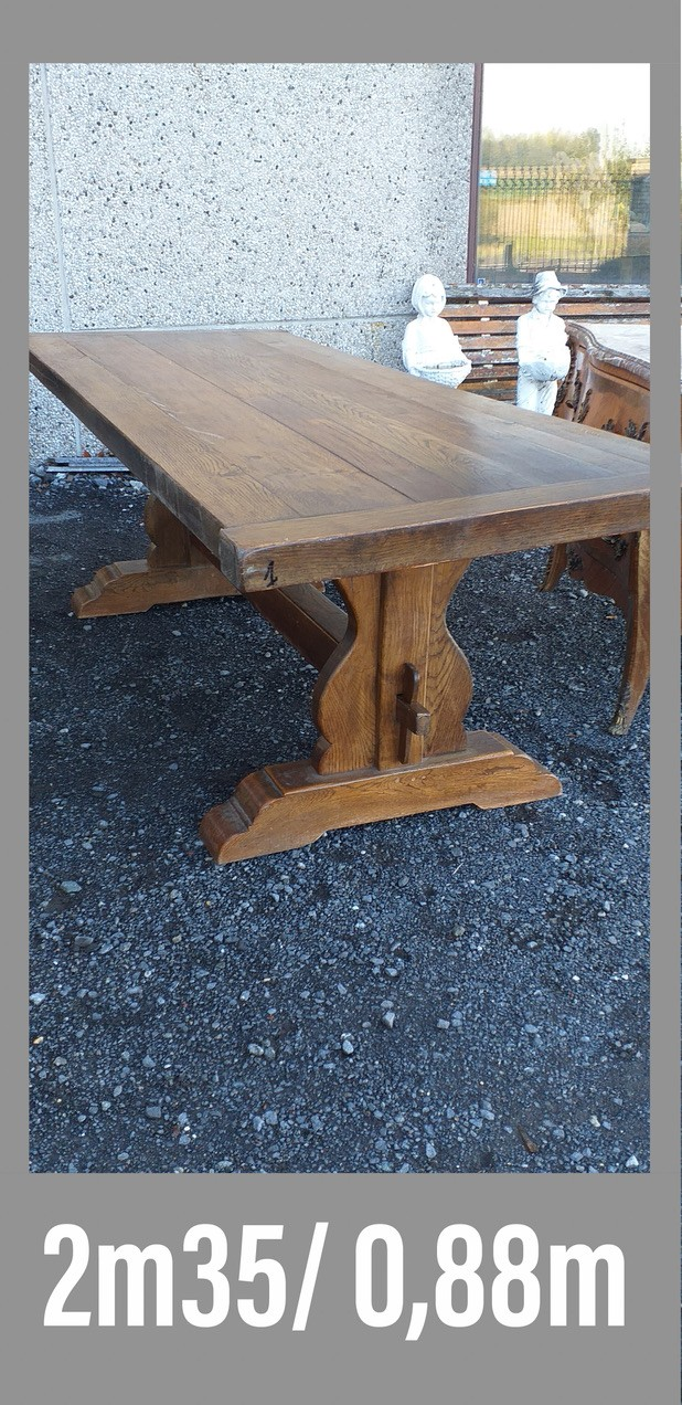 Large early 20th century French oak pedesatl based refectory table.