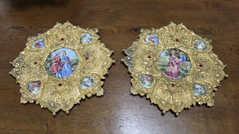 Pair of French bronze wall plaques decorated with limoges porcelain panels and gem stones..