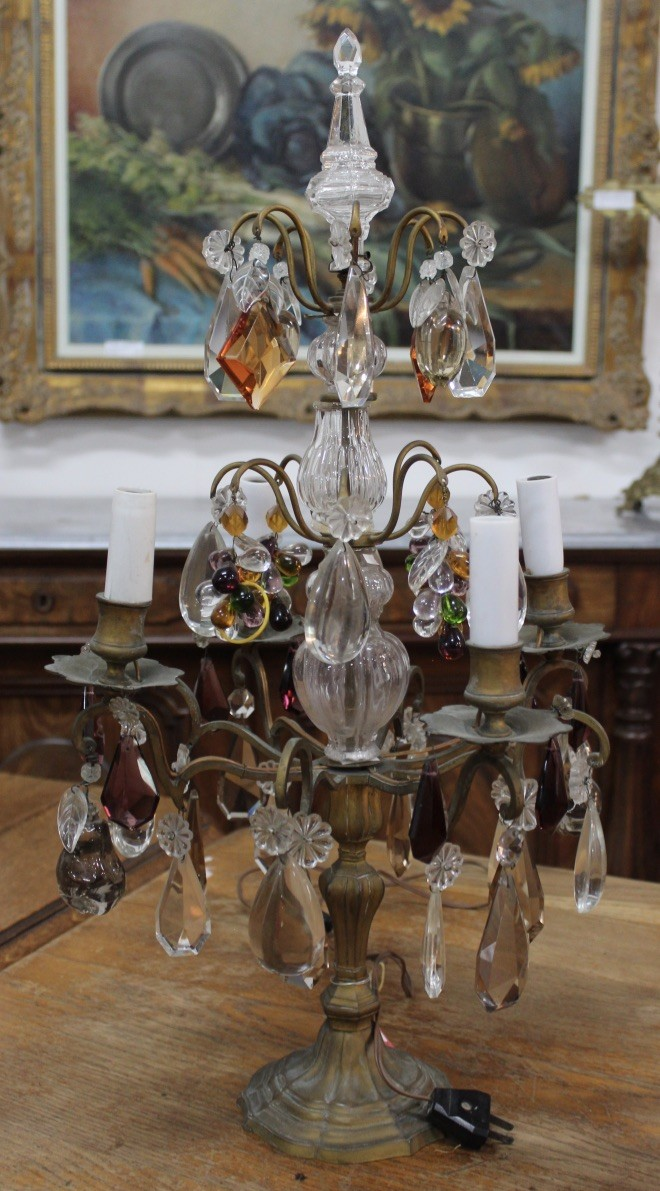 French early 20th century brass & cloured crystal girandole table lamp.