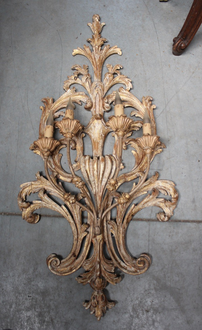 Large Italian gilt wood and lacquered four branch wall light.