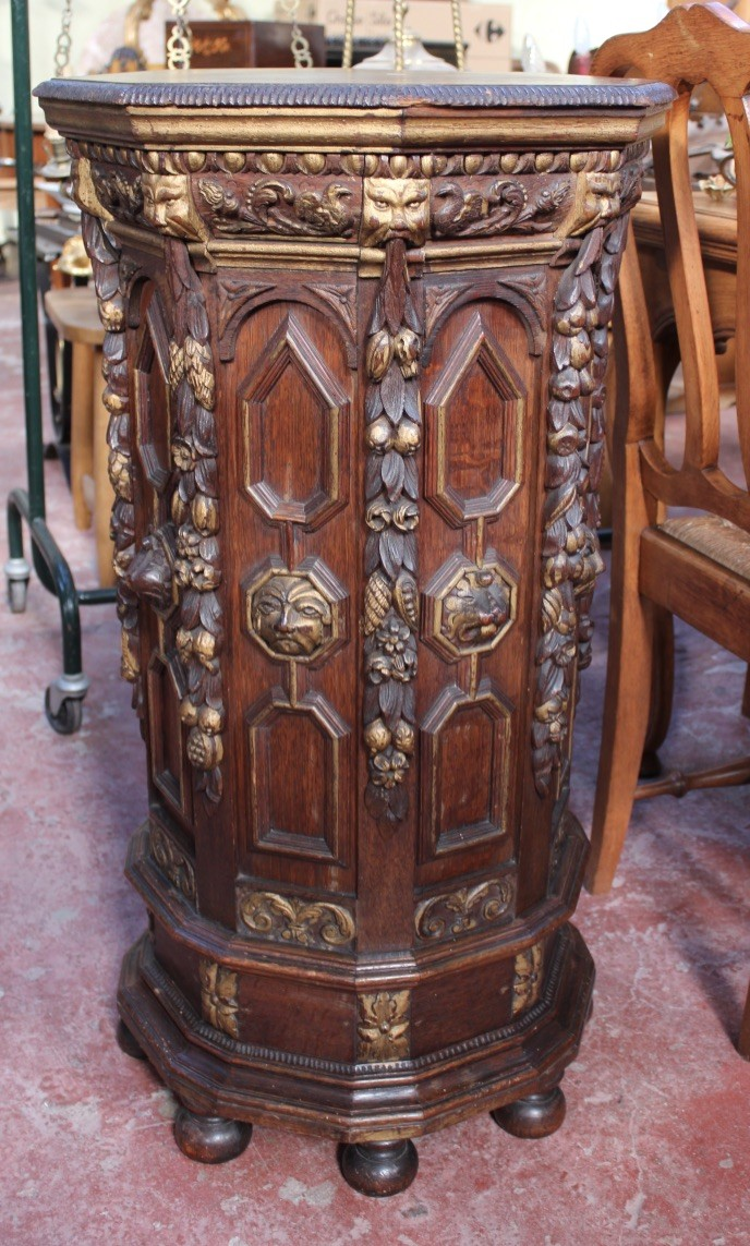 19th century French carved oak & gilt decorated pedestal - console.
