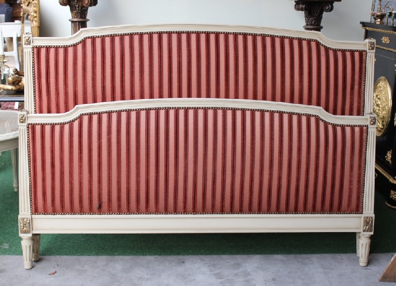 Queen size French lacquered & upholstered bedstead.