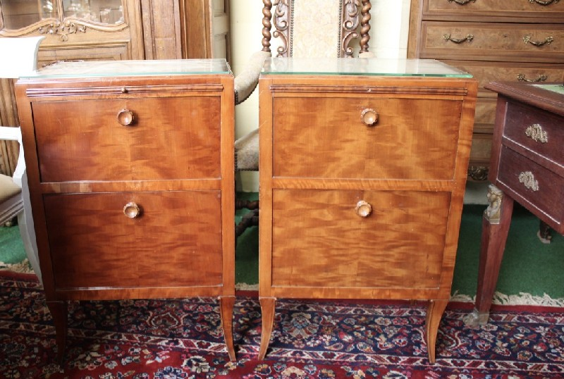 Pair of French mid-20th century walnut bedside cabinets.