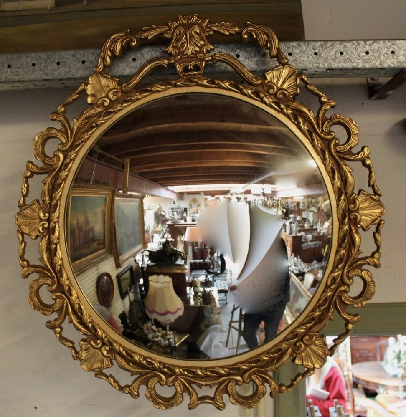Large gilt & floral convex glass wall mirror
