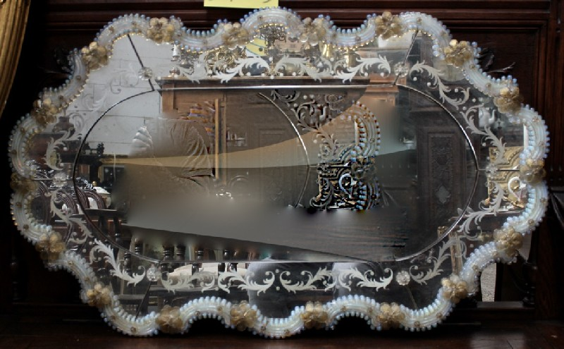 Fine Italian venetian floral & etched glass wall mirror.