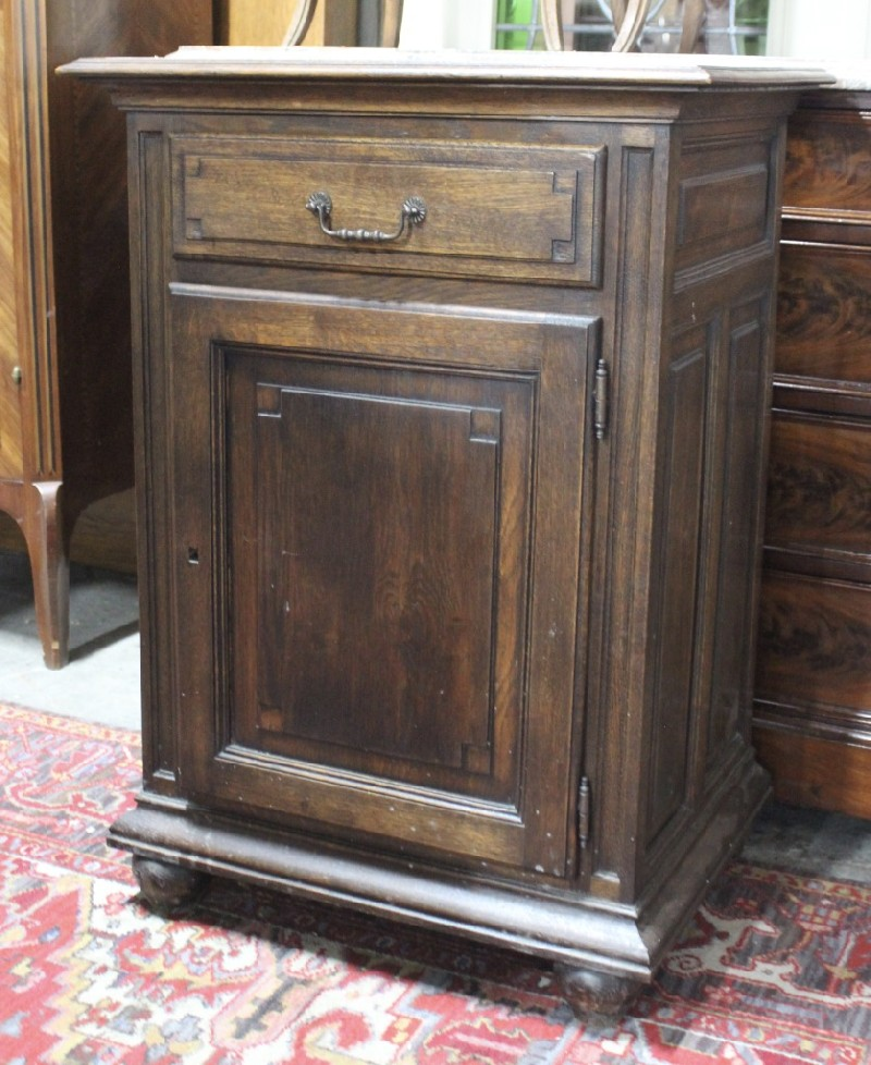 French provincial oak 1 door cabinet.