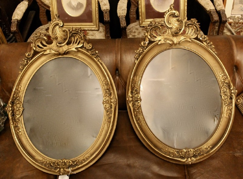 Fine pair of 19th century floral & gilt wood picture frames.