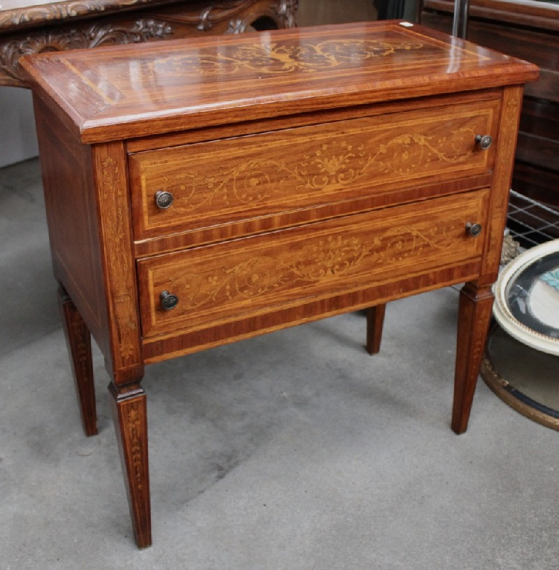 Italian early 20th century walnut & marquetry inlaid 2 drawer commode.