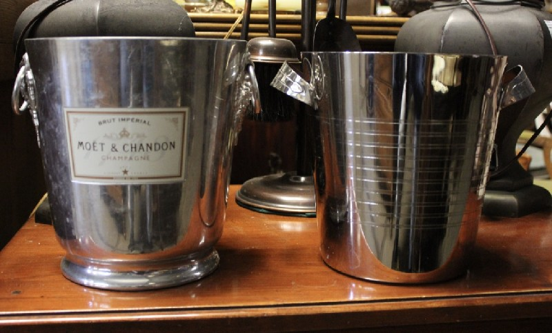 Two chrome champagne buckets