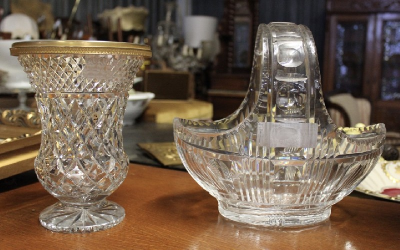 Cut crystal & brass vase and crystal bowl