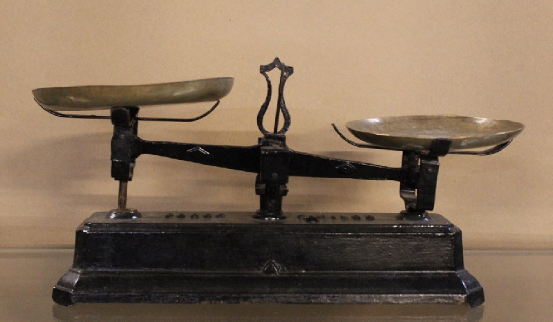 French antique cast iron kitchen scales with brass trays.