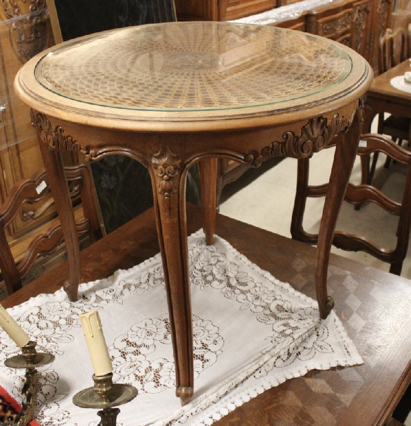 French Louis XVth oak & cane small table with glass top.