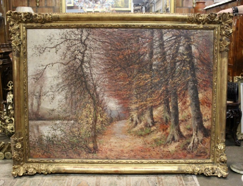 Impressive and large French gilt framed oil painting landscape of trees, signed J. Caron